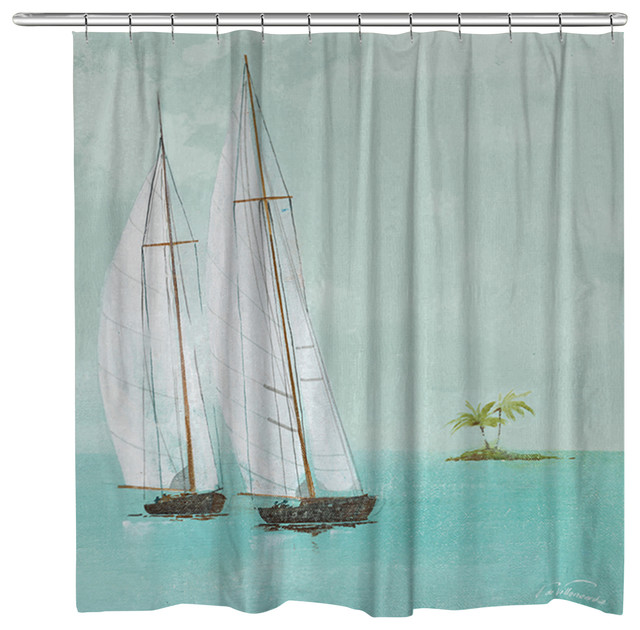 Tropical Sailboats Shower Curtain  Tropical  Shower
