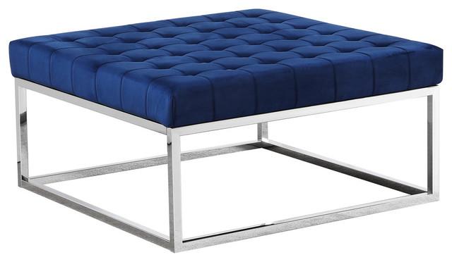 best master velvet upholstery square ottoman coffee table navy blue silver base