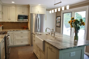 kitchen fantasy brown quartzite leathered countertops cabinets backsplash tile kitchens countertop farmhouse cherry glass granite hill features transitional sink stone