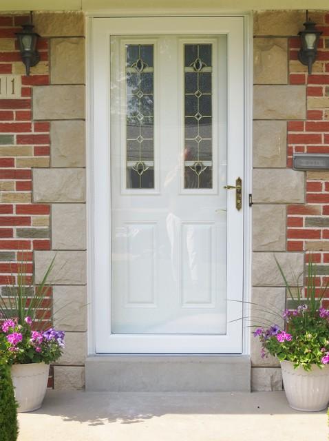 New Front Entry Door With New Storm Door Traditional
