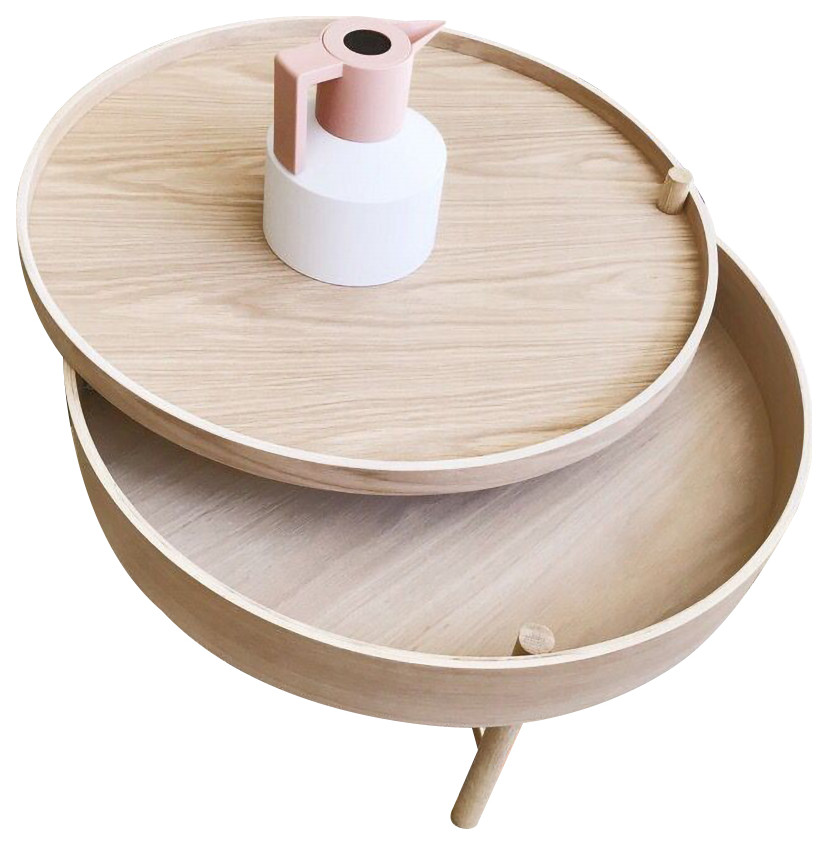 chic round wood storage coffee table natural rotating accent table