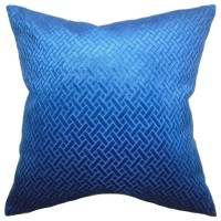 The Pillow Collection - Brielle Solid Pillow Blue Velvet ...