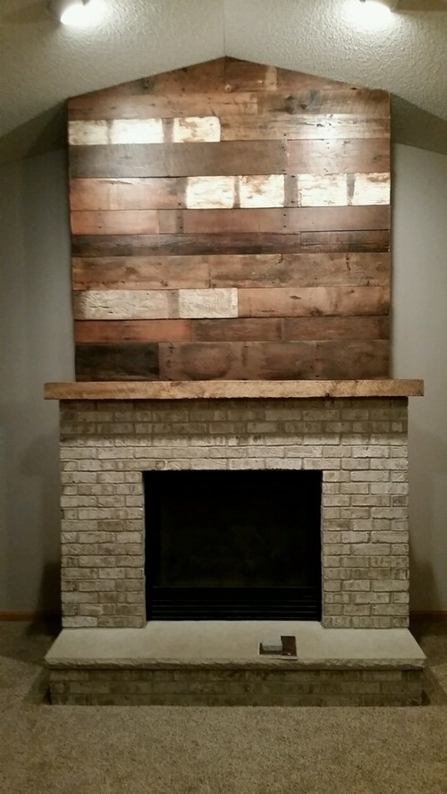 Barn wood accent wall and mantel