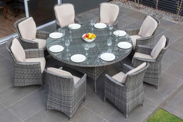 round outdoor wicker patio furniture set MODA Furnishings Outdoor Wicker Furniture - Nassau 8 Seat