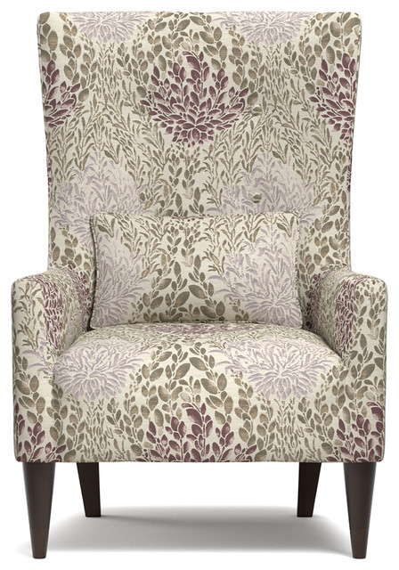 Orilla Shelter High Back Wing Chair Purple Multi Floral