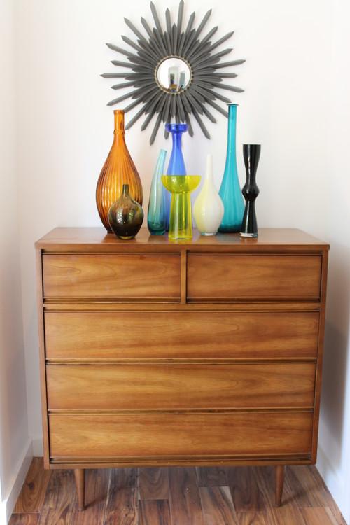 Mid Century Modern Dresser with Glass Vase Display
