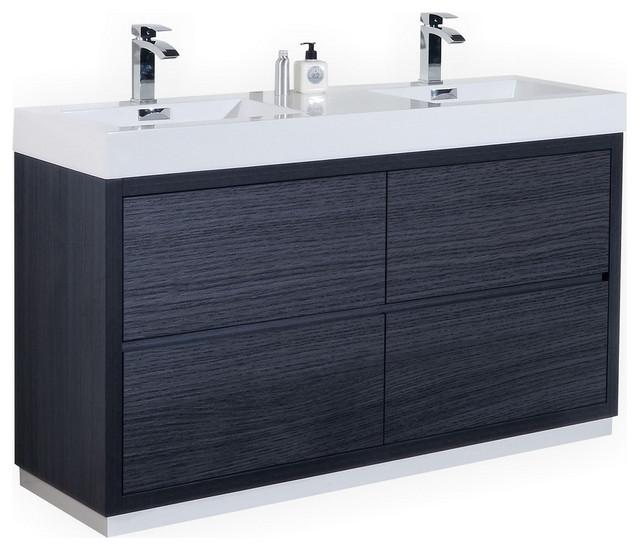 bliss 60 double sink free standing bathroom vanity high gloss white gray oak