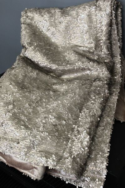 Luxury Sequin and Velvet Bedspread Throw  Pale Gold
