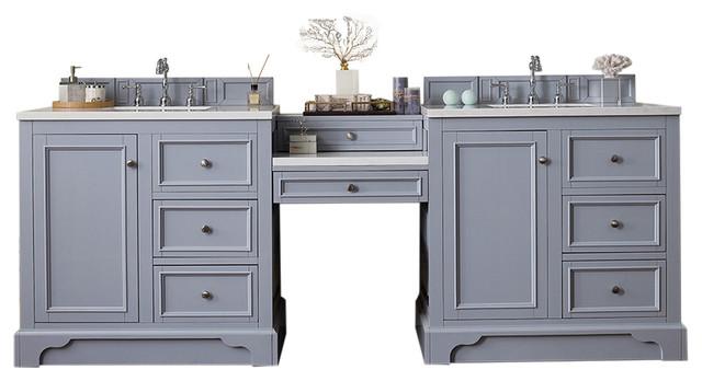 De Soto 94quot Double Vanity Gray Makeup Table Transitional