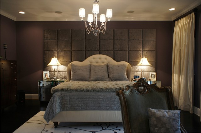 Wall of upholstered panels  Traditional  Bedroom