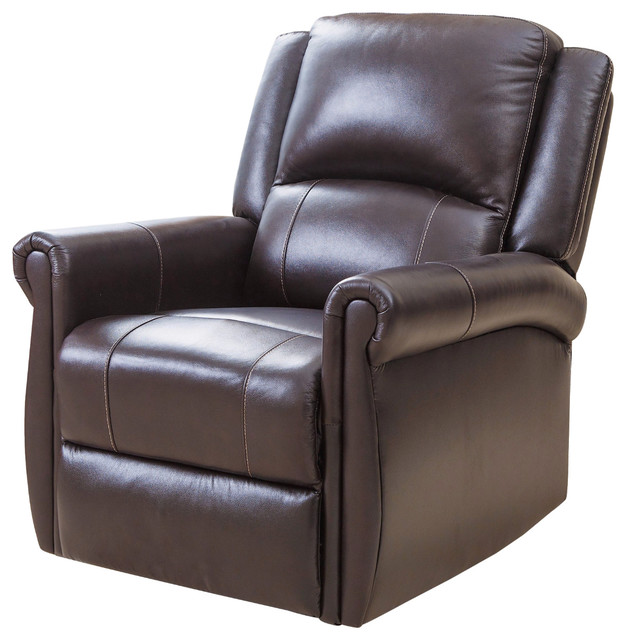 glider recliner chair pool patio chairs abbyson living elena leather swivel brown transitional by