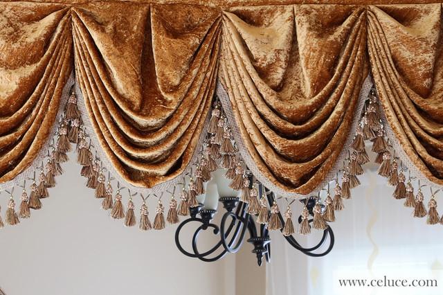 Gold Velvet Pleated Austrian Style Valance Curtains Modern