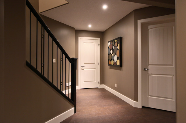 paint colors for living room with dark wood trim grey and blue decor ideas rothenberg basement development - traditional ...