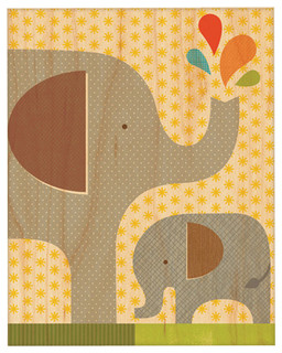 """Elephant And Calf, Unframed, 11""""x14"""", Large"""