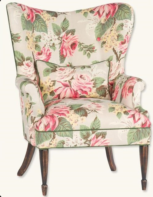 Enchanted Cottage Floral Wingback Chair Victorian