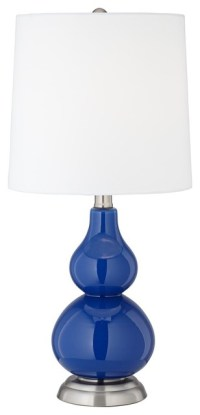 Royal Blue Small Gourd Accent Table Lamp