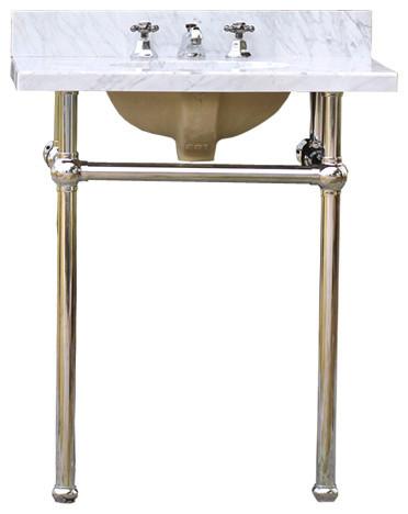 bath console sink deco vanity chrome legs white carrara marble