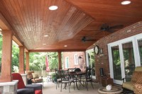 Covered Patio With Can Lights and Vaulted Ceiling - Rustic ...