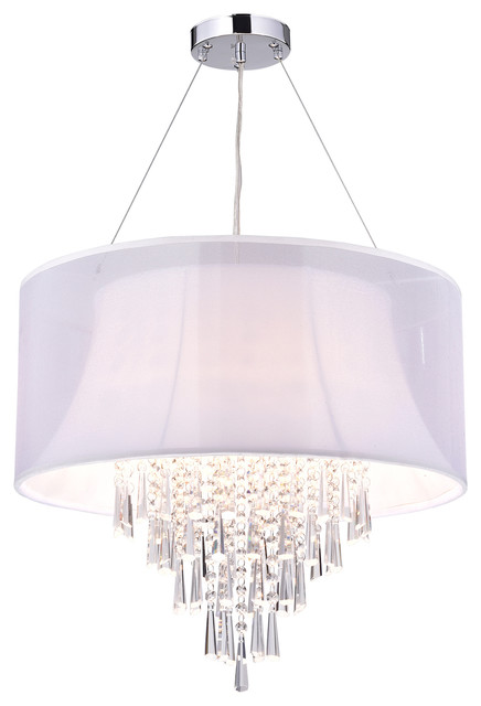 4 Light Double Drum Shade Crystal Chandelier Contemporary Chandeliers