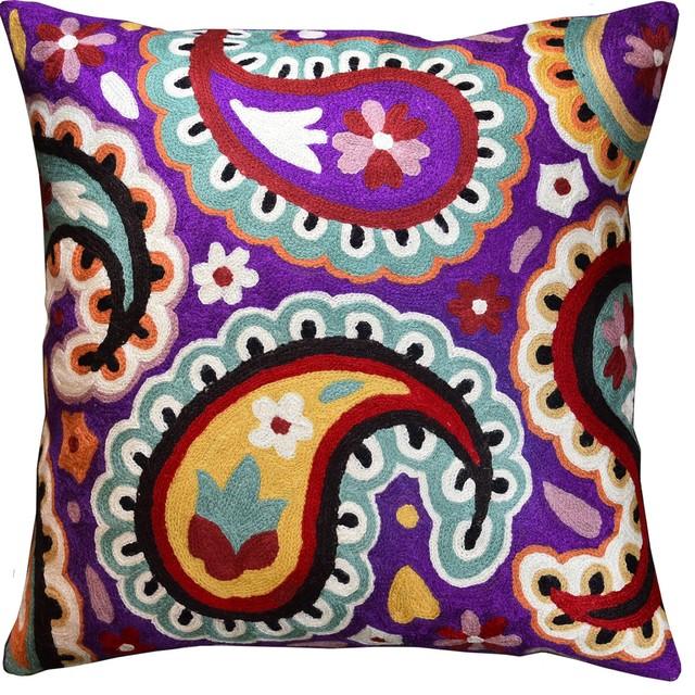 suzani paisley violet decorative pillow cover purple floral art deco wool 18x18