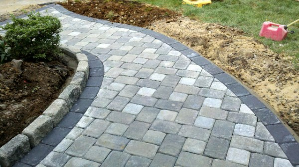 grey concrete paver brick walkway