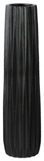 Elongated Medium Round Vase, Black