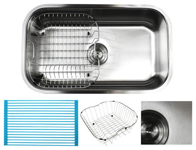 ariel 30 stainless steel undermount single bowl kitchen sink and accessories