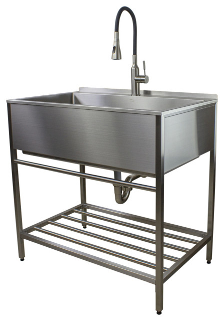 transolid 36 x22 stainless steel laundry sink with wash stand in brushed satin