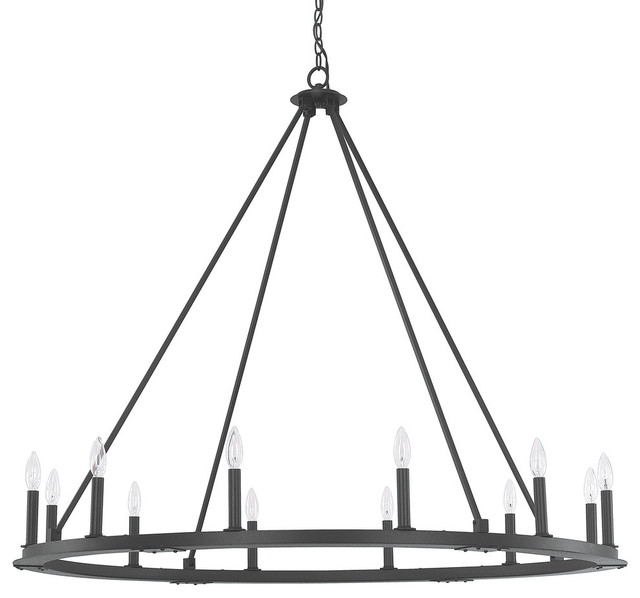 Pearson 12 Light Chandelier Black Iron Transitional Chandeliers