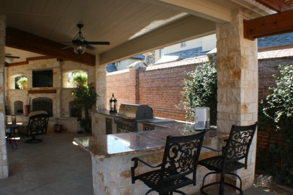outdoor kitchen covered patio Fort Worth Covered Patio with Pergola Outdoor Kitchen and Outdoor Fireplace - Traditional
