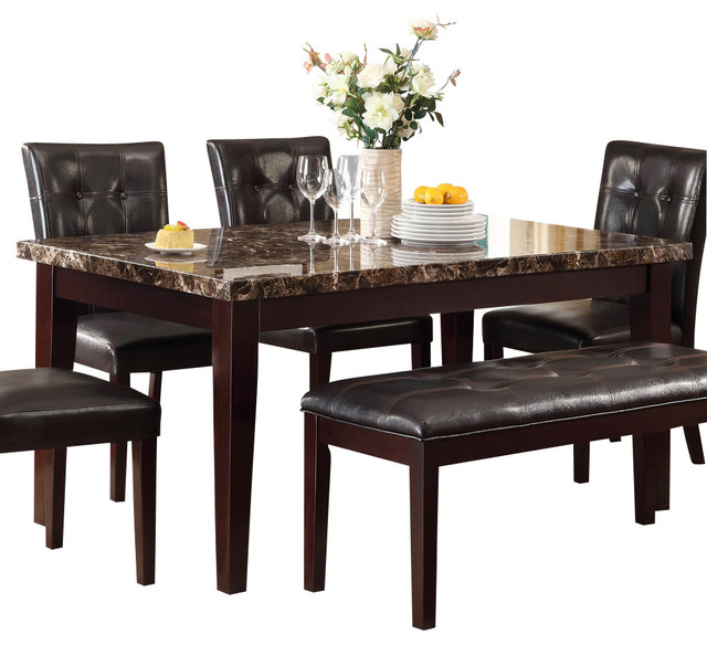 Homelegance Teague Faux Marble Dining Table In Espresso