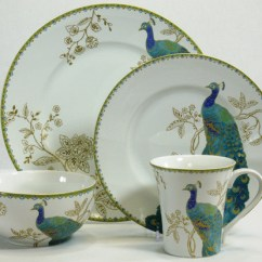 Rooster Kitchen Rugs Tall Trash Bags 222 Fifth Peacock Garden 16-piece Dinnerware Set ...
