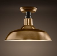 Vintage Barn Flush Mount, Antique Brass