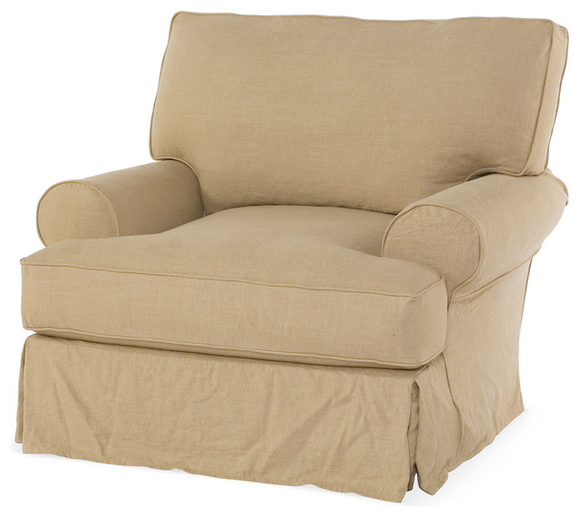 Comfy Slipcovered Club Chair Flax  Contemporary