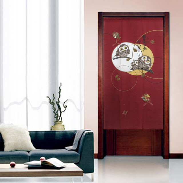owl kitchen rugs epoxy floor a happy owls family japanese door curtain 'noren ...