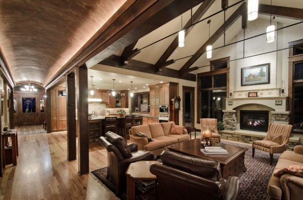 Open Concept Vaulted Ceiling Houzz Large Mountain Style Living Room