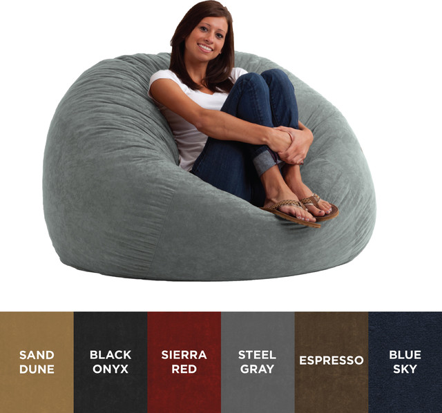 fufsack sofa sleeper lounge chair cushion replacement atlanta 4 foot large memory foam microfiber bean bag contemporary chairs by overstock com