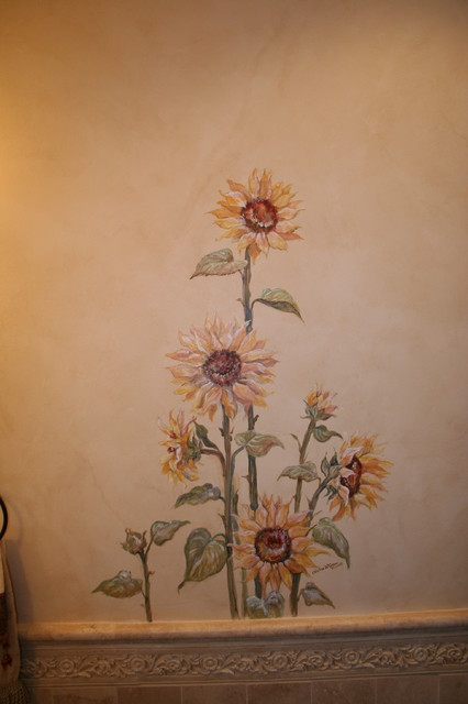 Tuscan Powder Room with Sunflower Mural  Mediterranean  Powder Room  San Diego  by Chelsea
