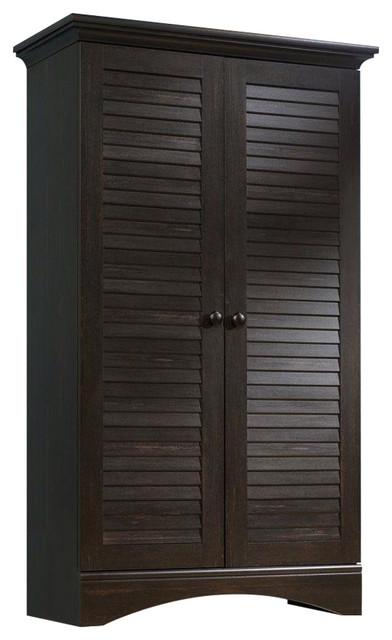 multi purpose wardrobe armoire storage cabinet in dark brown antique wood finish