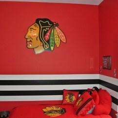 1930s Interior Design Living Room Modern Farmhouse Style Blackhawks Hockey Themed Paint Scheme