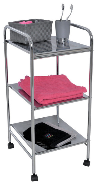 "home storage utilities rolling cart 3 metal shelves 28""x12.4""x14.4"