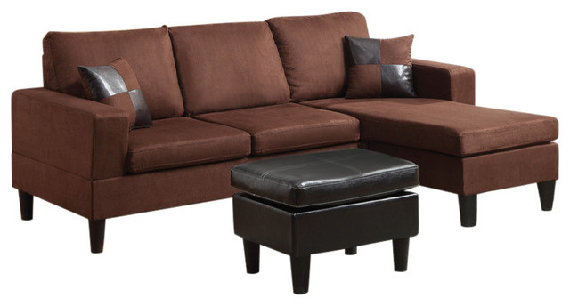 acme sectional sofa chocolate how to repair fabric tear robyn with reversible chaise ottoman transitional sofas by gwg outlet