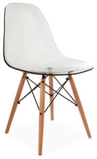 Ghost-Style Molded Acrylic Beech Wood Leg DSW Chair, Smoke ...