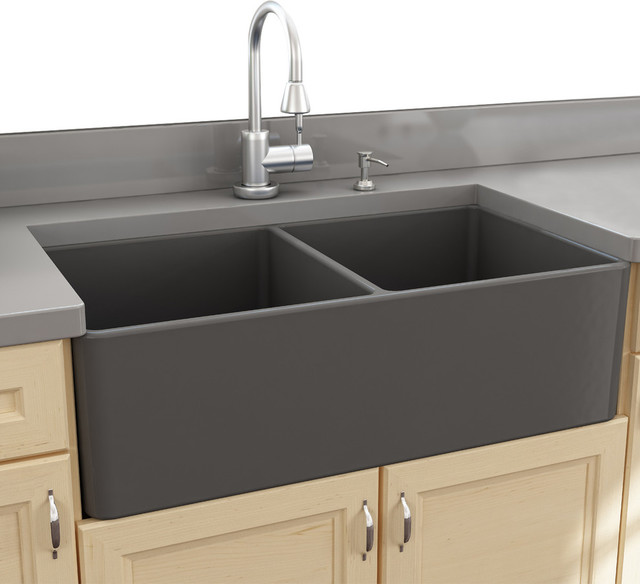 colored kitchen sinks polished brass faucets nantucket 33 double bowl gray fireclay farmhouse sink