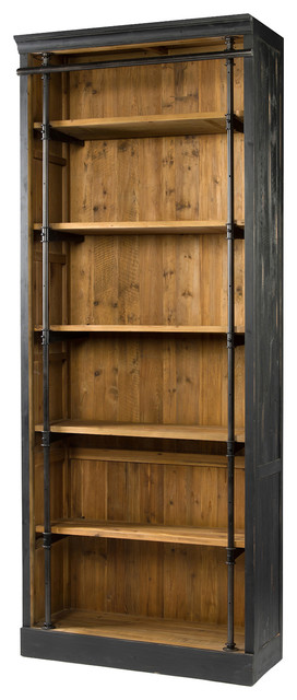 Ashlyn Rustic Lodge Pine Wood Metal Bookcase View In Your Room Houzz