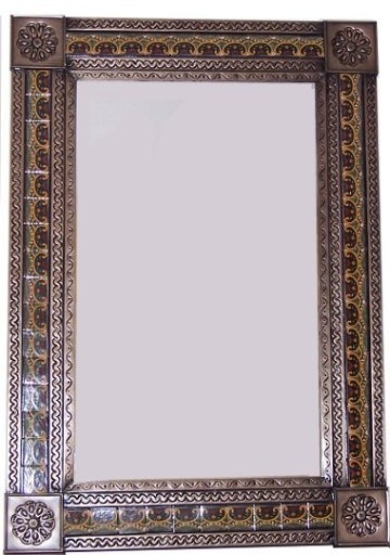 big brown greca c mexican tile mirror