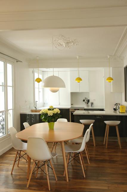 Transformation haussmannienne  85 m2  Contemporain  Salle  Manger  Paris  par Camille
