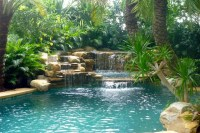 Waterfall and tropical garden - Tropical - Swimming Pool ...