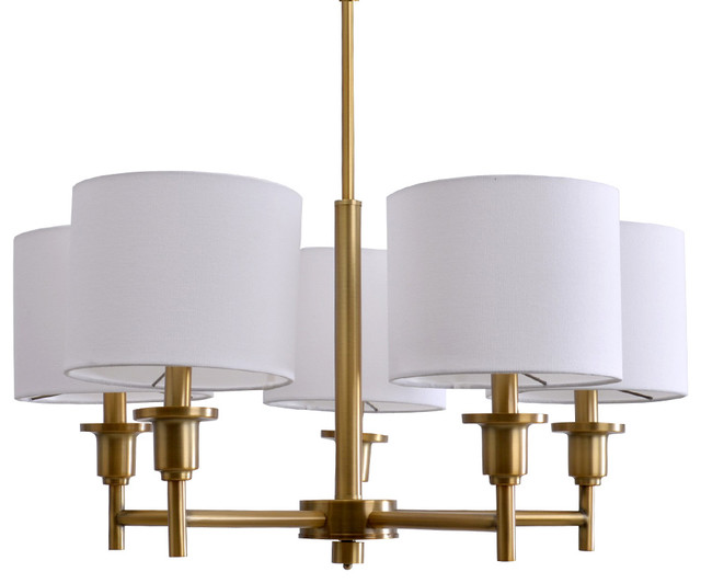 Catalina Allison 5 Light Shaded Chandelier Plated Brass Transitional Chandeliers