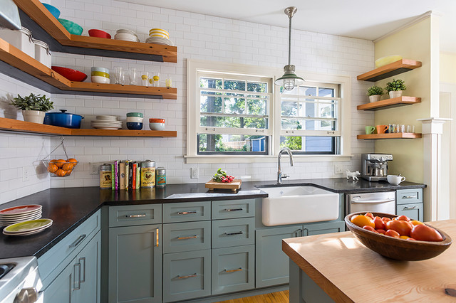 Reclaimed Open Shelving Farmhouse Kitchen Minneapolis By